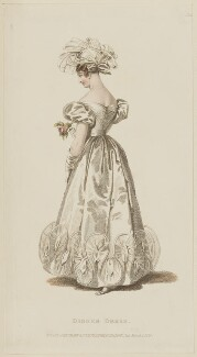 'Dinner Dress', March 1829, published by Rudolph Ackermann, published in  R. Ackermann's Repository of Fashions - NPG D47644