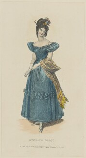 'Evening Dress', July 1829, published by Rudolph Ackermann, published in  R. Ackermann's Repository of Fashions - NPG D47645