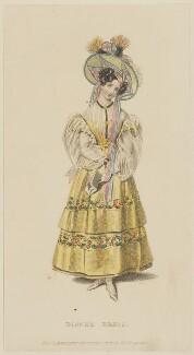 'Dinner Dress', August 1829, published by Rudolph Ackermann, published in  R. Ackermann's Repository of Fashions - NPG D47646
