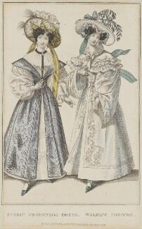 French Fashions, July 1829. 'Public Promenade Dress. Walking Costume', published by Rudolph Ackermann, published in  R. Ackermann's Repository of Fashions - NPG D47647