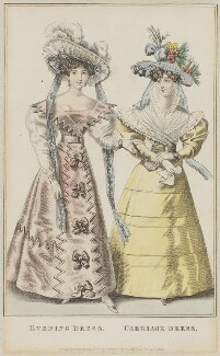'Evening Dress. Carriage Dress', July 1829, published by Rudolph Ackermann, published in  R. Ackermann's Repository of Fashions - NPG D47648