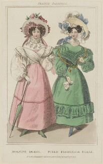 French Fashions, August 1829. 'Morning Dress. Public Promenade Dress', published by Rudolph Ackermann, published in  R. Ackermann's Repository of Fashions - NPG D47649