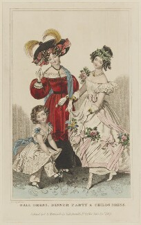 'Ball Dress, Dinner Party & Childs Dress', September 1829, by William Hopwood, published by  George Byrom Whittaker, published in  La Belle Assemblée or Bell's Court and Fashionable Magazine - NPG D47650