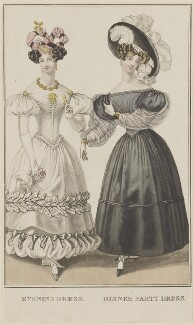 'Evening Dress. Dinner Party Dress', January 1829, published by George Byrom Whittaker, published in  La Belle Assemblée or Bell's Court and Fashionable Magazine - NPG D47652
