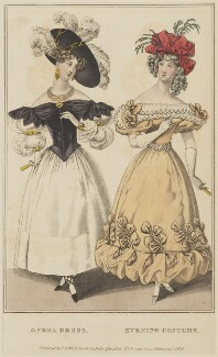 'Opera Dress. Evening Costume', February 1829, published by George Byrom Whittaker, published in  La Belle Assemblée or Bell's Court and Fashionable Magazine - NPG D47653