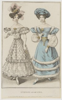 'Evening Dresses', March 1829, published by George Byrom Whittaker, published in  La Belle Assemblée or Bell's Court and Fashionable Magazine - NPG D47654