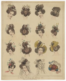 'Newest Fashions for January 1831. Fashionable Head Dresses', published in The World of Fashion and Continental Feuilletons - NPG D47655
