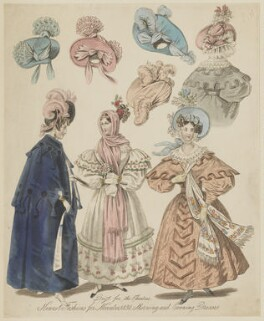 'Newest Fashions for November 1831. Morning and Evening Dresses. Dress for the Theatres', published in The World of Fashion and Continental Feuilletons - NPG D47657