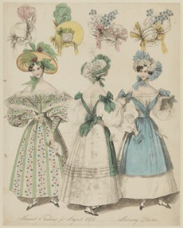 'Newest Fashions for August 1831. Morning Dresses', published in The World of Fashion and Continental Feuilletons - NPG D47659