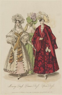 French Fashions, December 1831. 'Morning Dress. Dinner Dress. Opera Dress', published by Whittaker & Co, published in  La Belle Assemblée or Bell's Court and Fashionable Magazine - NPG D47660