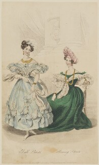 'Ball Dress. Evening Dress', October 1832, by William Hopwood, published by  Edward Bull, published in  The Court Magazine and Belle Assemblée - NPG D47664