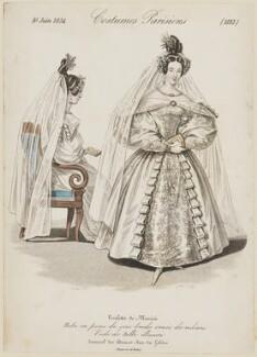 'Costumes Parisiens', number 3182. Wedding dress, June 1834, by Georges Jacques Gatine, after  Louis Marie Lanté, published in  Le Journal des Dames et des Modes - NPG D47671