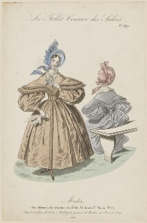 French walking dress, 1834, published in Le Follet, Courrier des Salons, Journal des Modes - NPG D47672