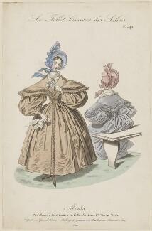 French walking dress, 1834, published in Le Follet, Courrier des Salons, Journal des Modes - NPG D47672