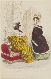 'Walking Dress. Carriage Dress', February 1835, by E.T.P., published by  Edward Churton, published in  The Court Magazine and Belle Assemblée - NPG D47673