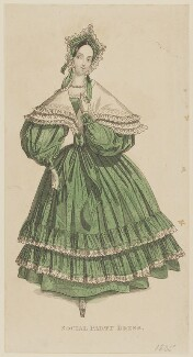 'Social Party Dress', January 1835, published by G. Henderson, published in  The Ladies' Cabinet of Fashion, Music and Romance - NPG D47680