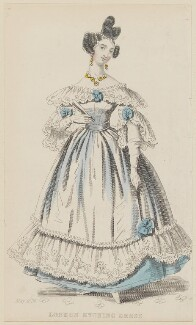 'London Evening Dress', May 1836, published by Joseph Robins, published in  The Ladies' Pocket Magazine - NPG D47699