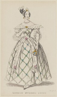 'London Evening Dress', August 1836, published by Joseph Robins, published in  The Ladies' Pocket Magazine - NPG D47697