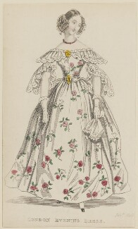 'London Evening Dress', September 1836, published by Joseph Robins, published in  The Ladies' Pocket Magazine - NPG D47695