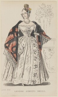 'London Evening Dress', October 1836, published by Joseph Robins, published in  The Ladies' Pocket Magazine - NPG D47702