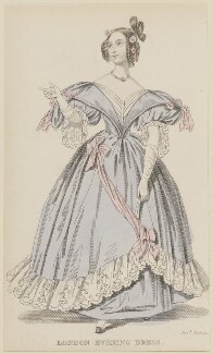 'London Evening Dress', July 1836, published by Joseph Robins, published in  The Ladies' Pocket Magazine - NPG D47701
