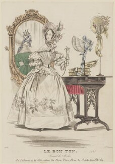 Paris dinner dress, 1836, by Mondain, published in  Le Bon Ton, Journal des Modes, probably published in  Blackwood's Lady's Magazine and Gazette of the Fashionable World - NPG D47711