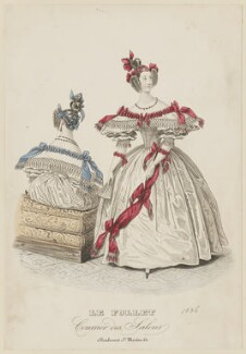 French ball dress, spring 1836, published in Le Follet, Courrier des Salons, Journal des Modes - NPG D47713