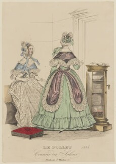 French home morning dress, autumn 1836, published in Le Follet, Courrier des Salons, Journal des Modes - NPG D47714