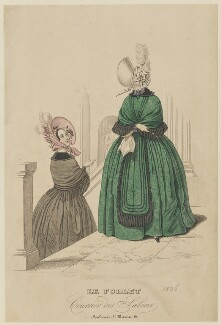 French walking dress, autumn 1836, published in Le Follet, Courrier des Salons, Journal des Modes - NPG D47715