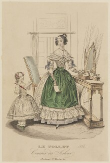 French morning dress, summer 1836, published in Le Follet, Courrier des Salons, Journal des Modes - NPG D47716