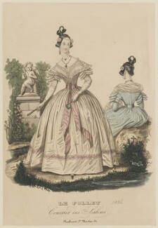 French summer dinner dress, 1836, published in Le Follet, Courrier des Salons, Journal des Modes - NPG D47718