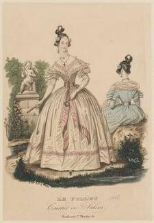 French summer dinner dress, 1836, published in Le Follet, Courrier des Salons, Journal des Modes - NPG D47718