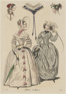Walking dress and riding dress, 1837, published in Petit Courrier des Dames, Journal des Modes - NPG D47721