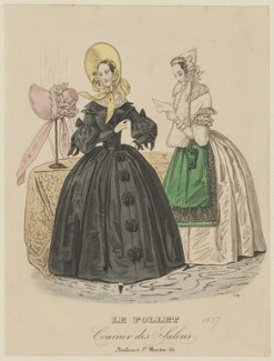 Walking dress and morning dress, autumn 1837, published in Le Follet, Courrier des Salons, Journal des Modes - NPG D47723