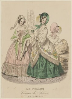 Dinner and concert or opera dresses, autumn 1837, published in Le Follet, Courrier des Salons, Journal des Modes - NPG D47728