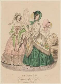 Dinner and concert or opera dresses, autumn 1837, published in Le Follet, Courrier des Salons, Journal des Modes - NPG D47728
