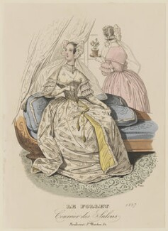 Morning dress, summer 1837, published in Le Follet, Courrier des Salons, Journal des Modes - NPG D47729