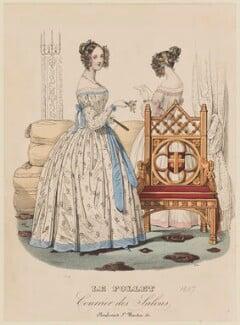 Dinner dress, summer 1837, published in Le Follet, Courrier des Salons, Journal des Modes - NPG D47730