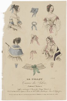 French hair-styles, bonnets and neckwear, February 1838, published by Dobbs & Co, published in  The Court Magazine and Monthly Critic and Lady's Magazine and Museum - NPG D47732