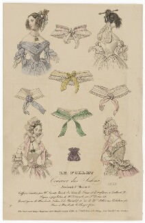 French hair-styles, head and neckwear, April 1838, published by Dobbs & Co, published in  The Court Magazine and Monthly Critic and Lady's Magazine and Museum - NPG D47733