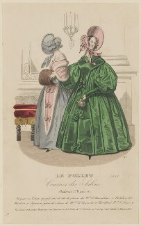 Walking dress, January 1838, published by Dobbs & Co, published in  The Court Magazine and Monthly Critic and Lady's Magazine and Museum - NPG D47736