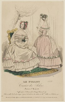 Ball dresses, May 1838, published by Dobbs & Co, published in  The Court Magazine and Monthly Critic and Lady's Magazine and Museum - NPG D47739