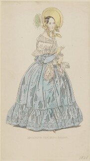 'Morning Visiting Dress', June 1838, by W. Bosell, probably published by  E. Henderson, probably published in  The Ladies' Cabinet of Fashion, Music and Romance - NPG D47745