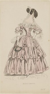 'Ball Dress', April 1838, by W. Bosell, probably published by  E. Henderson, probably published in  The Ladies' Cabinet of Fashion, Music and Romance - NPG D47746