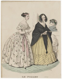 Dinner and Evening Dresses, 1839, published in The Court Magazine and Monthly Critic and Lady's Magazine and Museum - NPG D47750