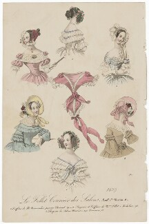 'Details de Toilette - Corsages, Coiffeurs, &c', 1839, published in The Court Magazine and Monthly Critic and Lady's Magazine and Museum - NPG D47751