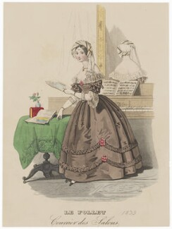 Dinner dress, 1839, published in The Court Magazine and Monthly Critic and Lady's Magazine and Museum - NPG D47753