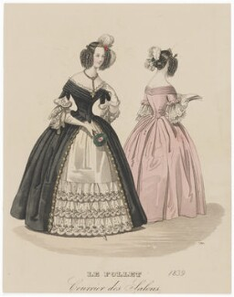 Ball or evening dress, 1839, published in The Court Magazine and Monthly Critic and Lady's Magazine and Museum - NPG D47754
