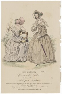 Walking or carriage costume, 1839, published in The Court Magazine and Monthly Critic and Lady's Magazine and Museum - NPG D47755