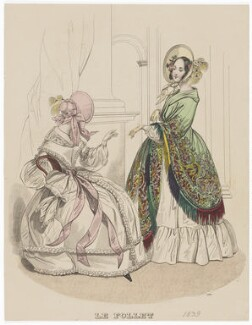 Morning walking dress, 1839, published in The Court Magazine and Monthly Critic and Lady's Magazine and Museum - NPG D47756